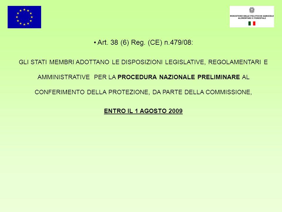 Art. 38 (6) Reg. (CE) n.479/08: GLI STATI MEMBRI ADOTTANO LE DISPOSIZIONI LEGISLATIVE, REGOLAMENTARI E AMMINISTRATIVE PER LA PROCEDURA NAZIONALE PRELI