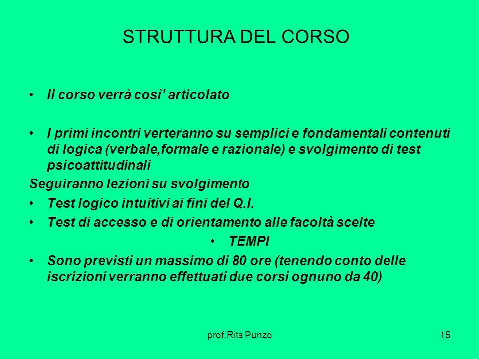 prof.Rita Punzo15 STRUTTURA DEL CORSO Il corso verrà così articolato I primi incontri verteranno su semplici e fondamentali contenuti di logica (verba