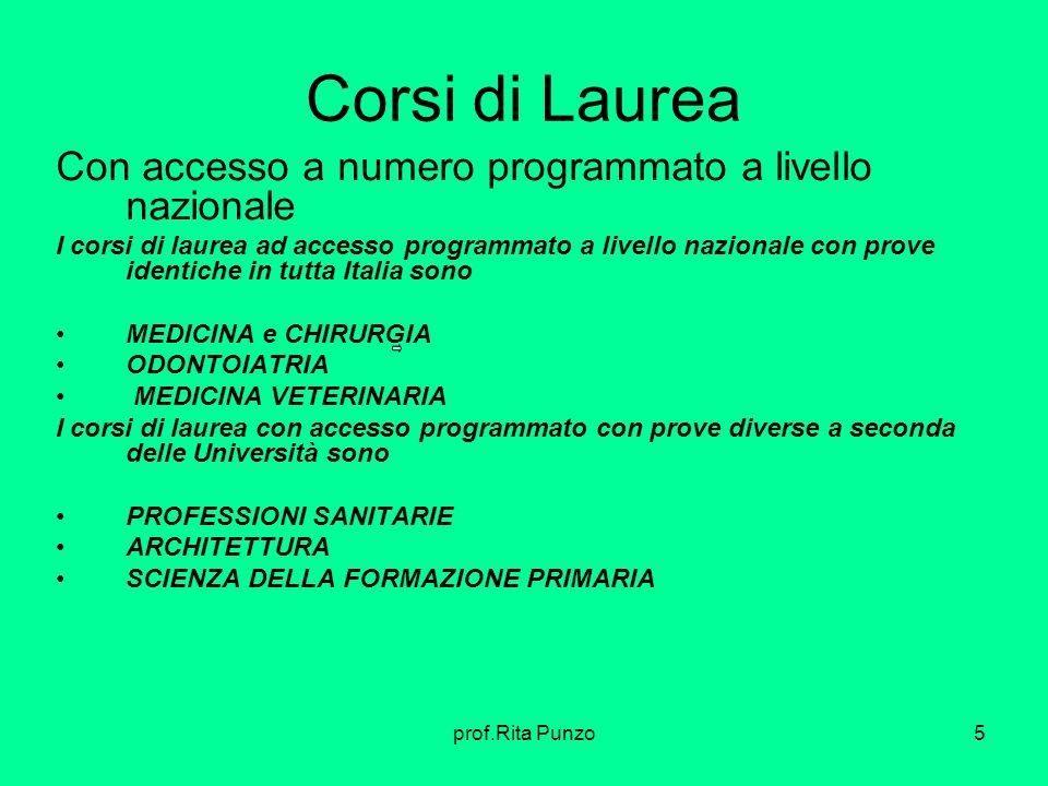 prof.Rita Punzo5 Corsi di Laurea Con accesso a numero programmato a livello nazionale I corsi di laurea ad accesso programmato a livello nazionale con