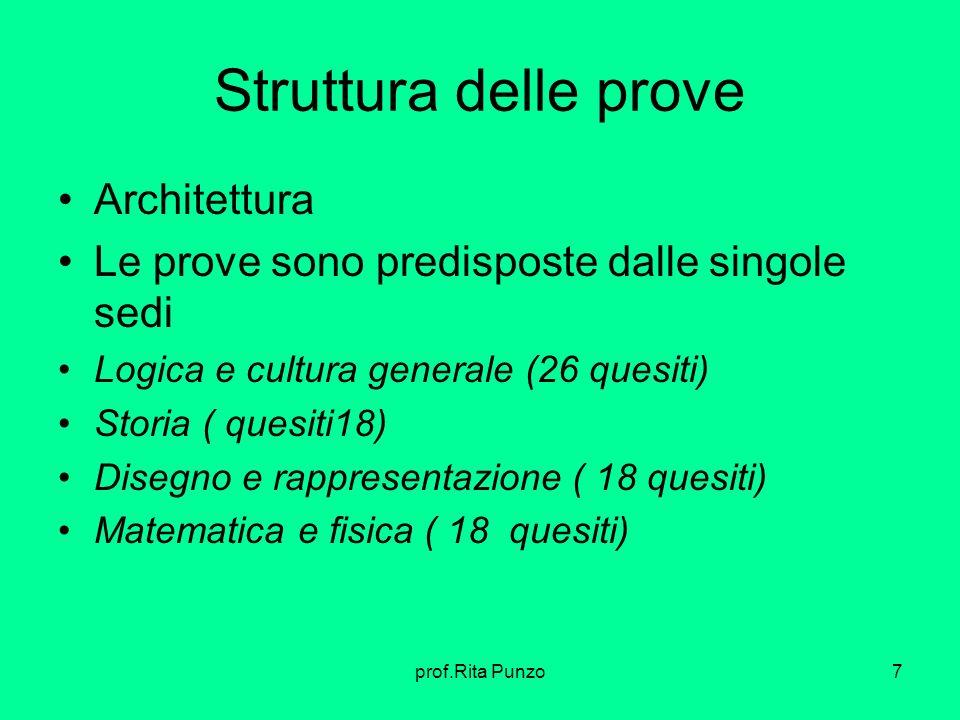 prof.Rita Punzo7 Struttura delle prove Architettura Le prove sono predisposte dalle singole sedi Logica e cultura generale (26 quesiti) Storia ( quesi