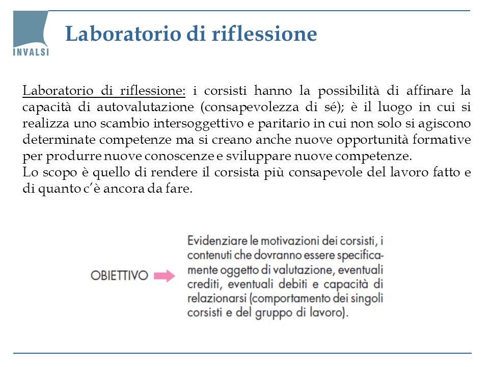 Laboratorio di riflessione Laboratorio di riflessione: i corsisti hanno la possibilità di affinare la capacità di autovalutazione (consapevolezza di s