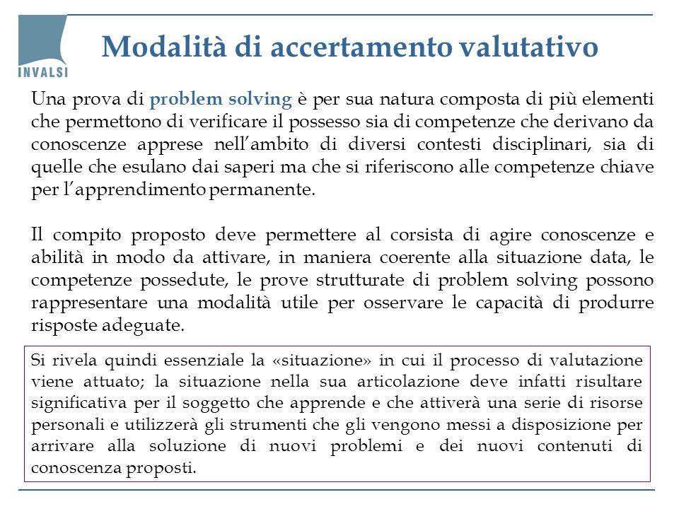 Modalità di accertamento valutativo Una prova di problem solving è per sua natura composta di più elementi che permettono di verificare il possesso si
