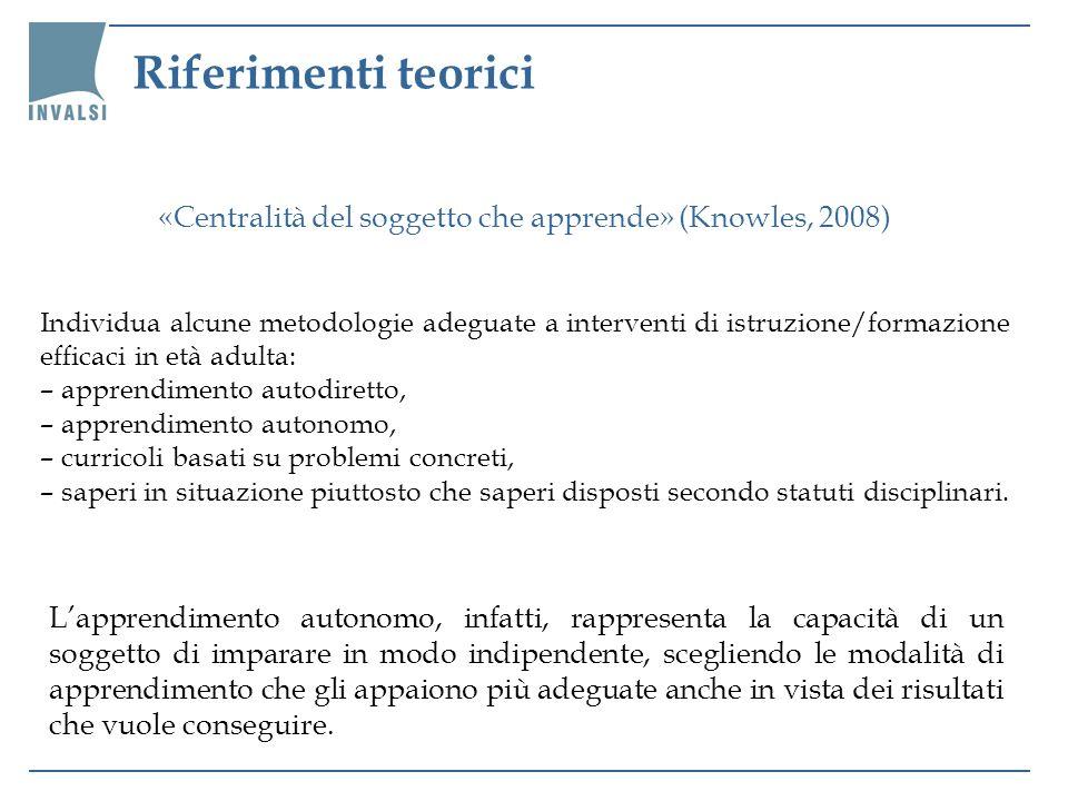 Riferimenti teorici «Centralità del soggetto che apprende» (Knowles, 2008) Individua alcune metodologie adeguate a interventi di istruzione/formazione