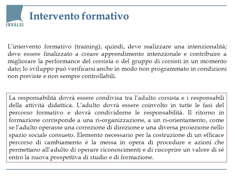 Lintervento formativo (training), quindi, deve realizzare una intenzionalità; deve essere finalizzato a creare apprendimento intenzionale e contribuir