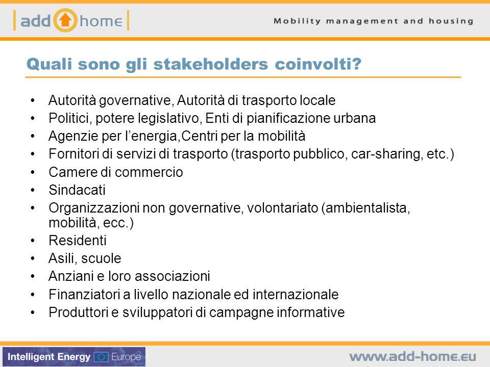 Quali sono gli stakeholders coinvolti? Autorità governative, Autorità di trasporto locale Politici, potere legislativo, Enti di pianificazione urbana