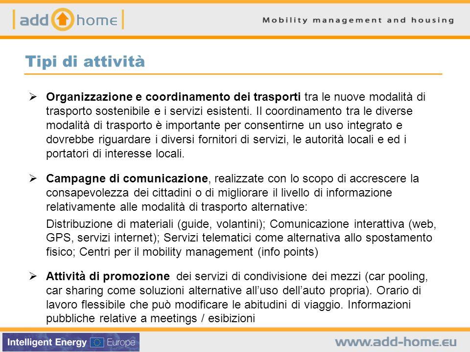 Tipi di attività Organizzazione e coordinamento dei trasporti tra le nuove modalità di trasporto sostenibile e i servizi esistenti. Il coordinamento t
