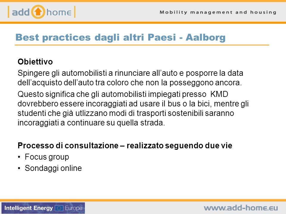 Best practices dagli altri Paesi - Aalborg Obiettivo Spingere gli automobilisti a rinunciare allauto e posporre la data dellacquisto dellauto tra colo