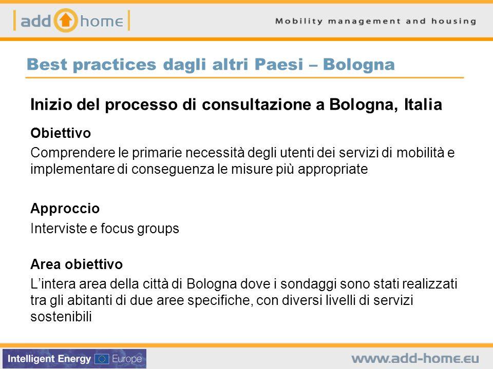 Best practices dagli altri Paesi – Bologna Inizio del processo di consultazione a Bologna, Italia Obiettivo Comprendere le primarie necessità degli ut