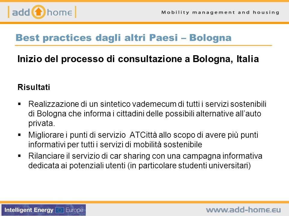 Best practices dagli altri Paesi – Bologna Inizio del processo di consultazione a Bologna, Italia Risultati Realizzazione di un sintetico vademecum di
