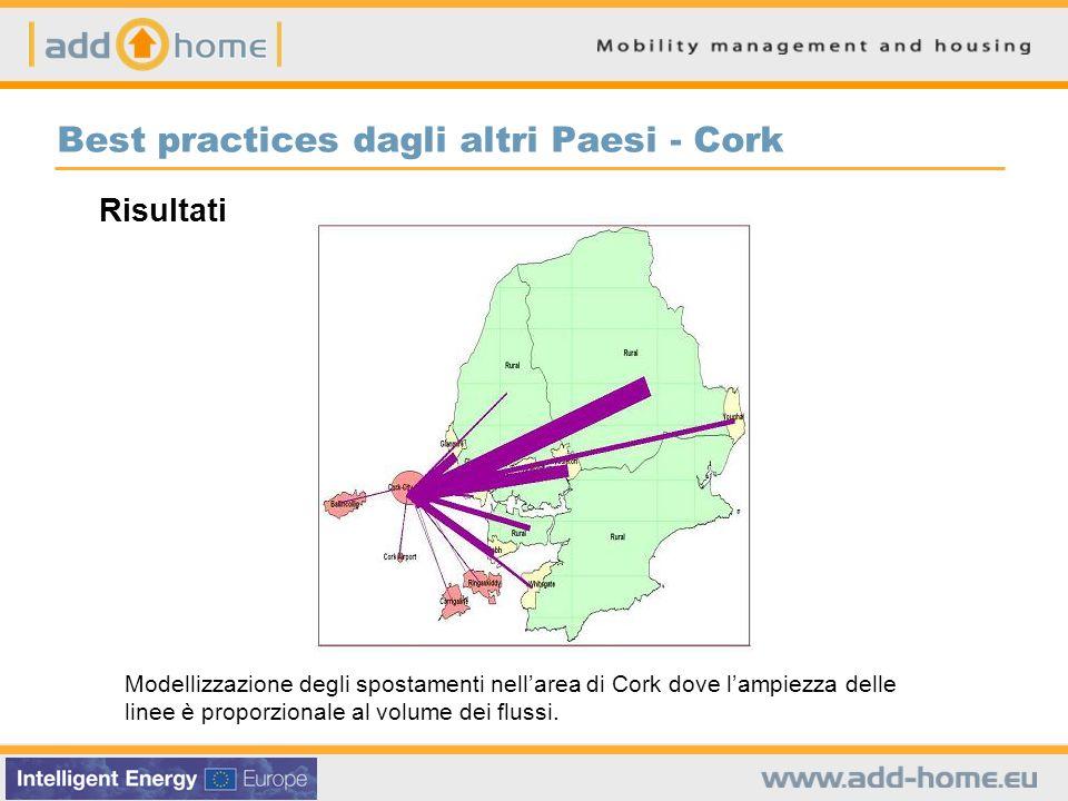 Best practices dagli altri Paesi - Cork Modellizzazione degli spostamenti nellarea di Cork dove lampiezza delle linee è proporzionale al volume dei fl