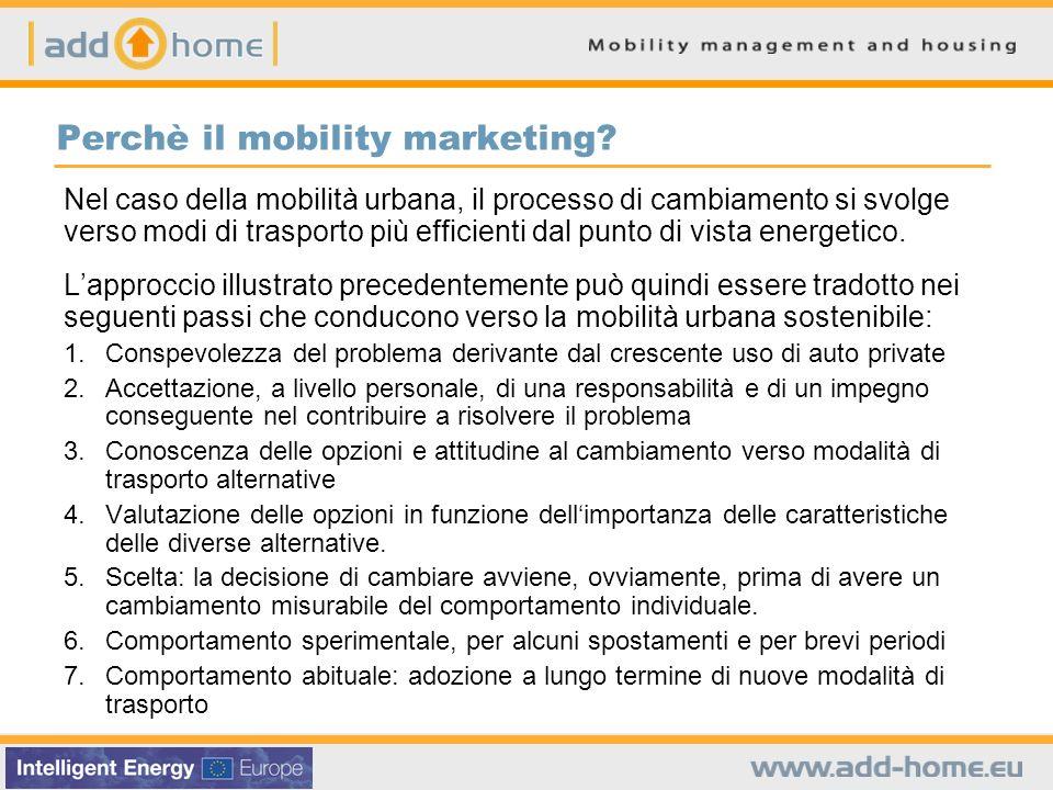 Perchè il mobility marketing? Nel caso della mobilità urbana, il processo di cambiamento si svolge verso modi di trasporto più efficienti dal punto di