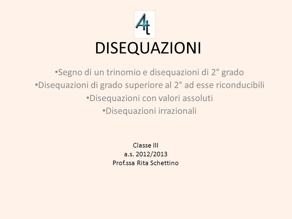 DISEQUAZIONI Segno di un trinomio e disequazioni di 2° grado Disequazioni di grado superiore al 2° ad esse riconducibili Disequazioni con valori assol