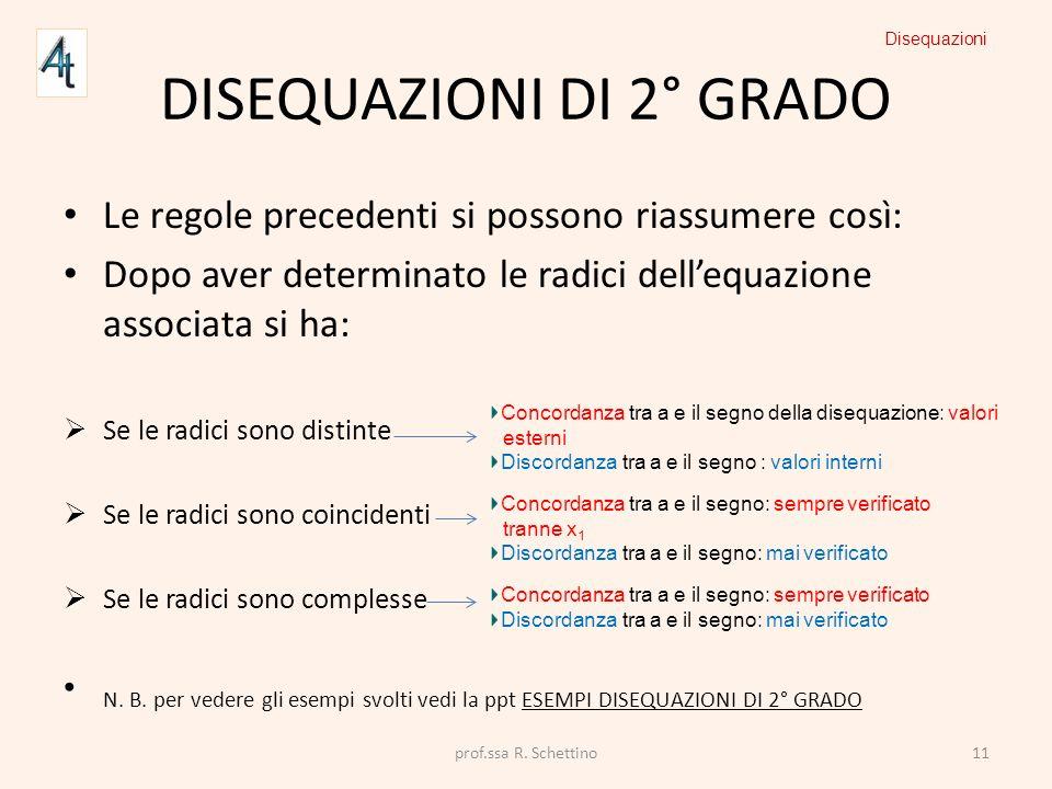 DISEQUAZIONI DI 2° GRADO Le regole precedenti si possono riassumere così: Dopo aver determinato le radici dellequazione associata si ha: Se le radici