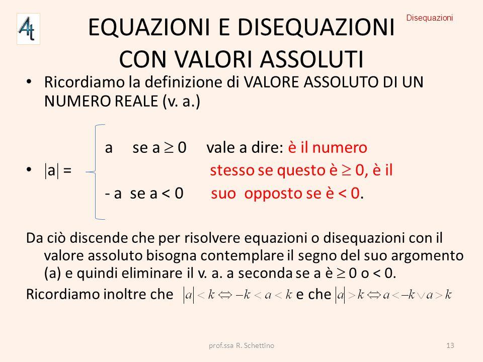EQUAZIONI E DISEQUAZIONI CON VALORI ASSOLUTI Ricordiamo la definizione di VALORE ASSOLUTO DI UN NUMERO REALE (v. a.) a se a 0 vale a dire: è il numero