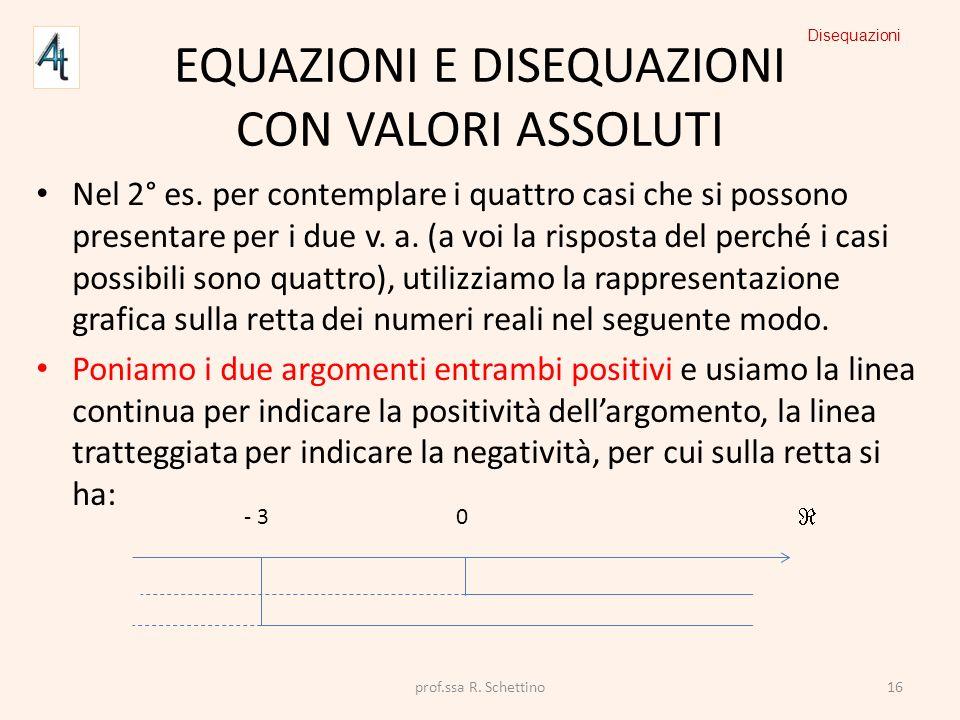 EQUAZIONI E DISEQUAZIONI CON VALORI ASSOLUTI Nel 2° es. per contemplare i quattro casi che si possono presentare per i due v. a. (a voi la risposta de