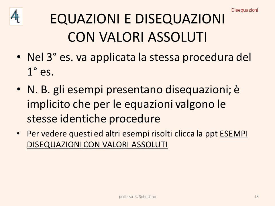 EQUAZIONI E DISEQUAZIONI CON VALORI ASSOLUTI Nel 3° es. va applicata la stessa procedura del 1° es. N. B. gli esempi presentano disequazioni; è implic