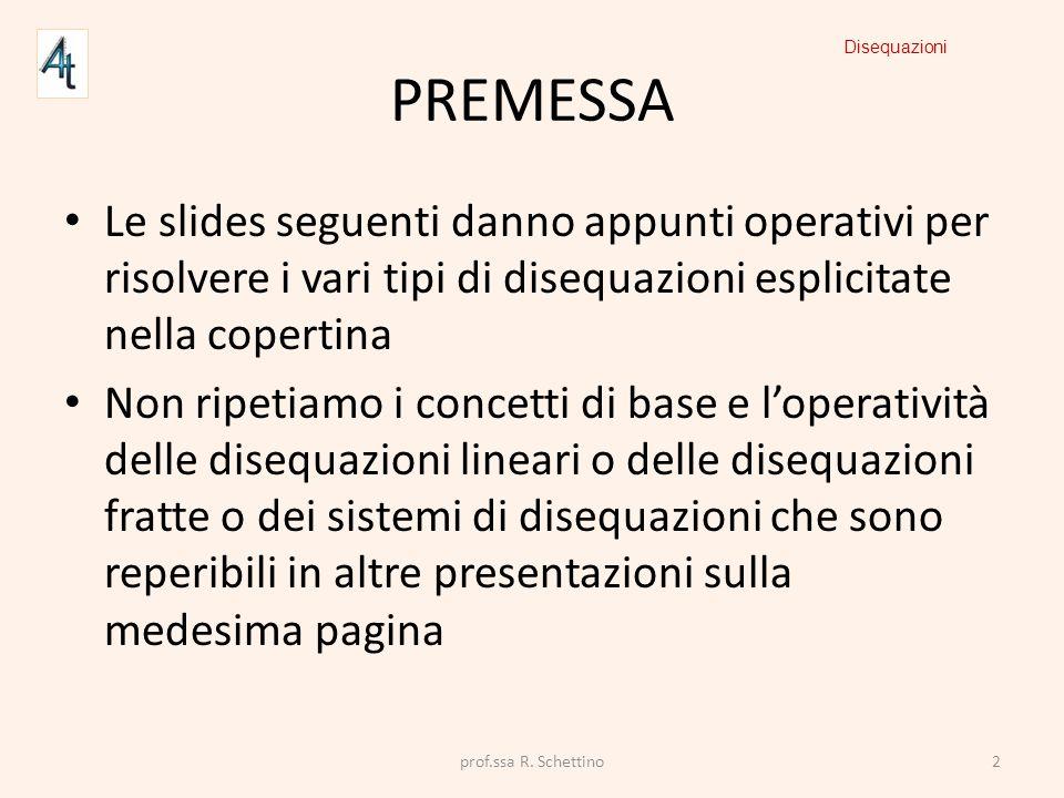 PREMESSA Le slides seguenti danno appunti operativi per risolvere i vari tipi di disequazioni esplicitate nella copertina Non ripetiamo i concetti di