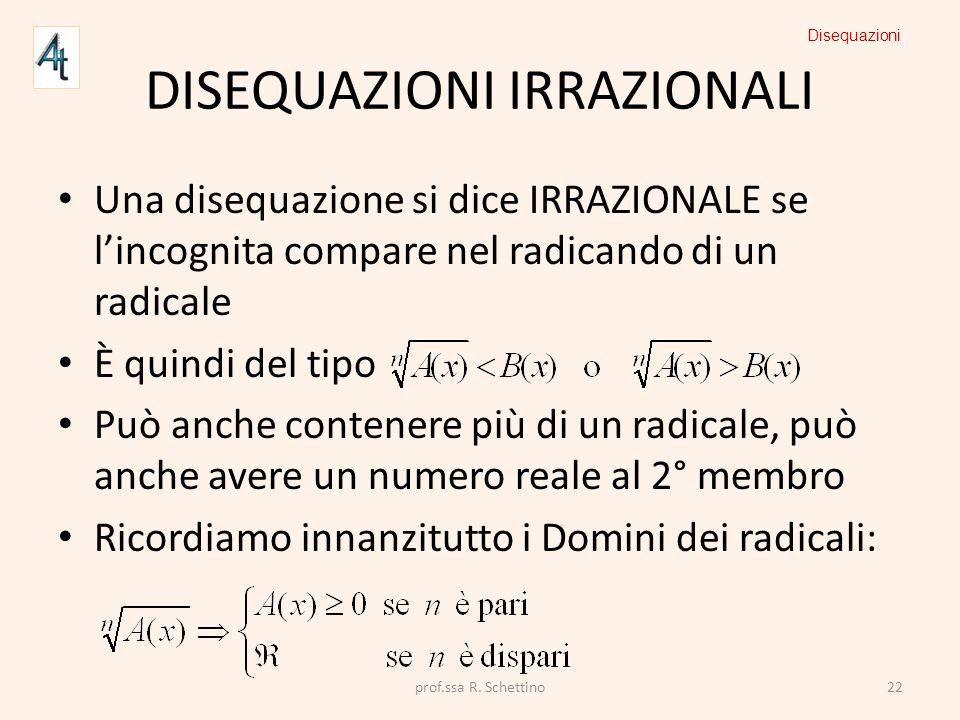 DISEQUAZIONI IRRAZIONALI Una disequazione si dice IRRAZIONALE se lincognita compare nel radicando di un radicale È quindi del tipo Può anche contenere