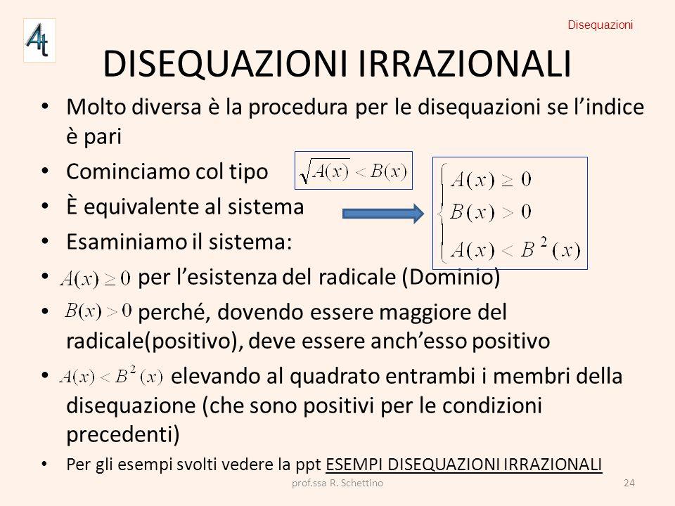 DISEQUAZIONI IRRAZIONALI Molto diversa è la procedura per le disequazioni se lindice è pari Cominciamo col tipo È equivalente al sistema Esaminiamo il