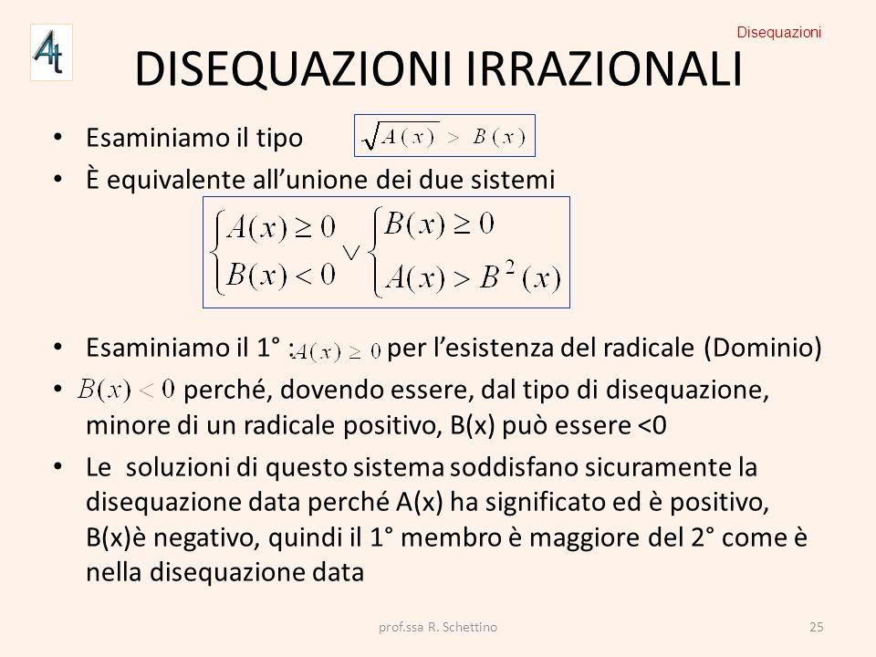 DISEQUAZIONI IRRAZIONALI Esaminiamo il tipo È equivalente allunione dei due sistemi Esaminiamo il 1° : per lesistenza del radicale (Dominio) perché, d