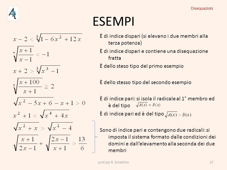 ESEMPI È di indice dispari (si elevano i due membri alla terza potenza) È di indice dispari e contiene una disequazione fratta È dello steso tipo del