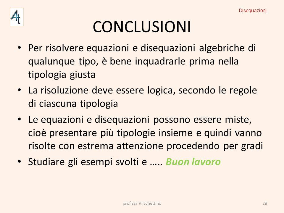 CONCLUSIONI Per risolvere equazioni e disequazioni algebriche di qualunque tipo, è bene inquadrarle prima nella tipologia giusta La risoluzione deve e