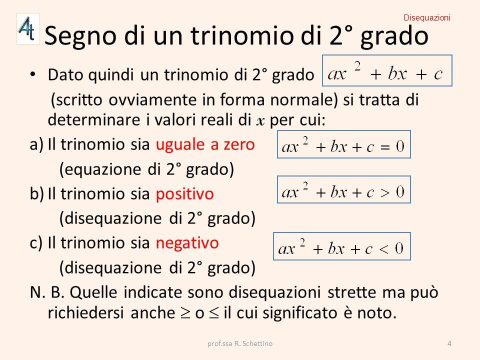 Segno di un trinomio di 2° grado Dato quindi un trinomio di 2° grado (scritto ovviamente in forma normale) si tratta di determinare i valori reali di