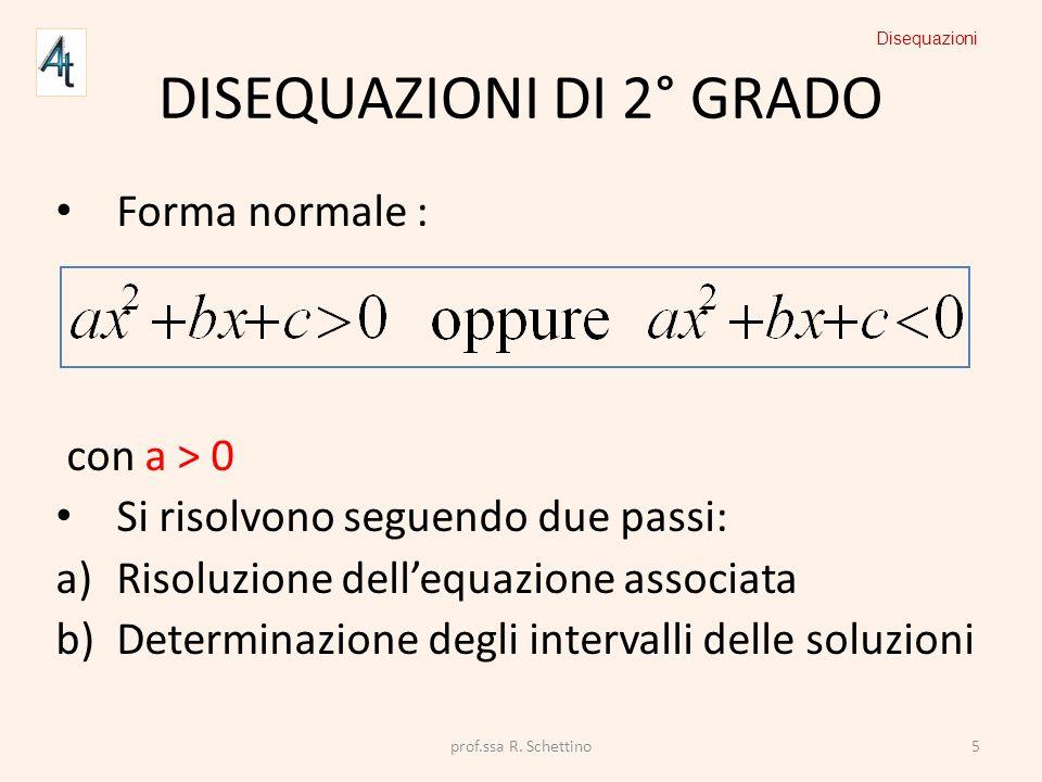DISEQUAZIONI DI 2° GRADO Forma normale : con a > 0 Si risolvono seguendo due passi: a)Risoluzione dellequazione associata b)Determinazione degli inter