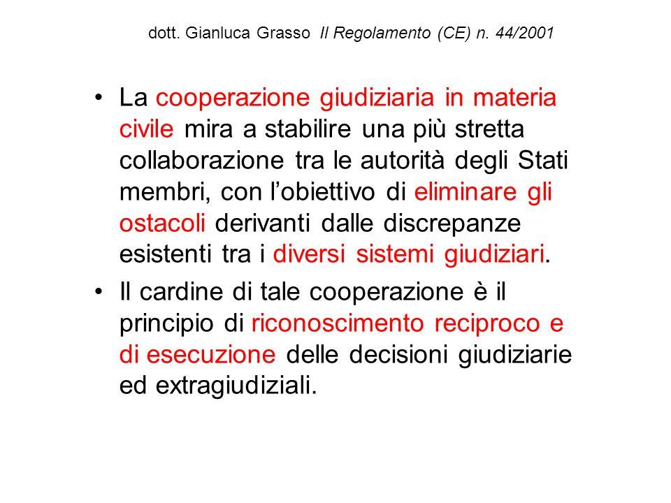 dott. Gianluca Grasso Il Regolamento (CE) n. 44/2001 La cooperazione giudiziaria in materia civile mira a stabilire una più stretta collaborazione tra