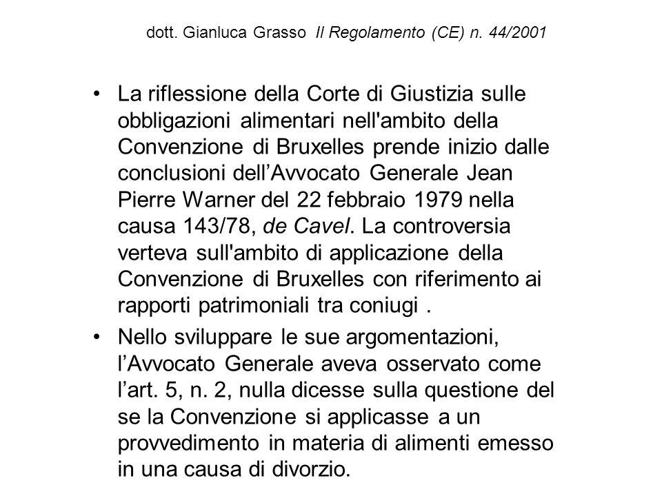 dott. Gianluca Grasso Il Regolamento (CE) n. 44/2001 La riflessione della Corte di Giustizia sulle obbligazioni alimentari nell'ambito della Convenzio