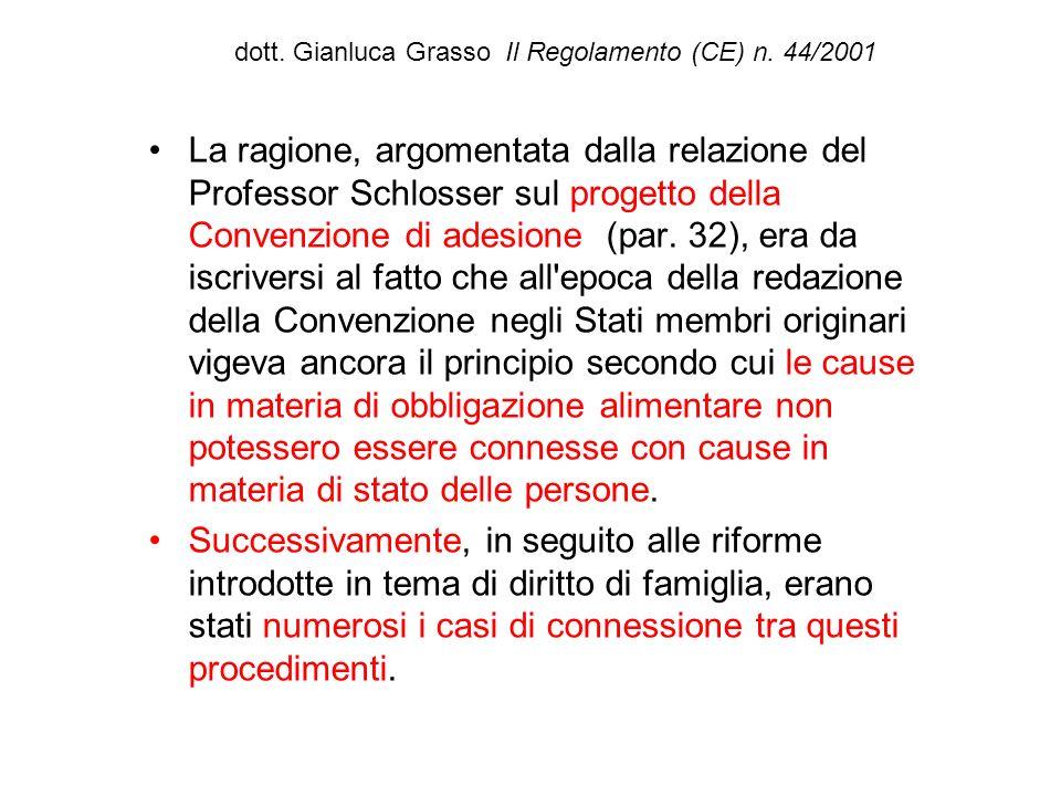 dott. Gianluca Grasso Il Regolamento (CE) n. 44/2001 La ragione, argomentata dalla relazione del Professor Schlosser sul progetto della Convenzione di
