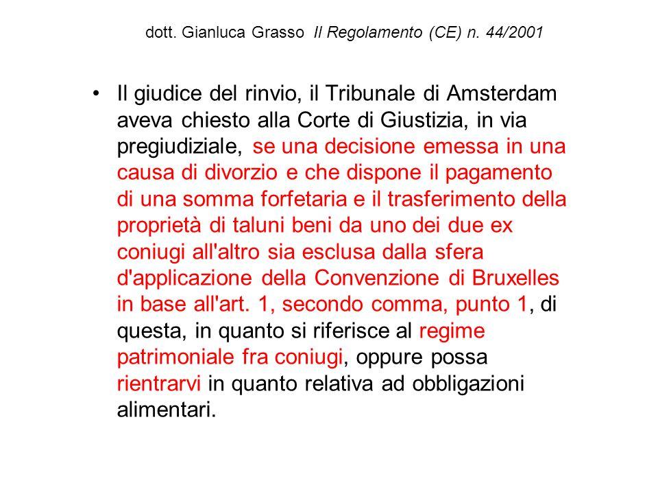 dott. Gianluca Grasso Il Regolamento (CE) n. 44/2001 Il giudice del rinvio, il Tribunale di Amsterdam aveva chiesto alla Corte di Giustizia, in via pr