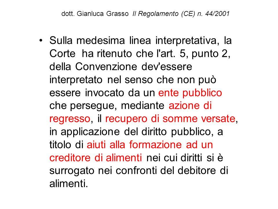 dott. Gianluca Grasso Il Regolamento (CE) n. 44/2001 Sulla medesima linea interpretativa, la Corte ha ritenuto che l'art. 5, punto 2, della Convenzion