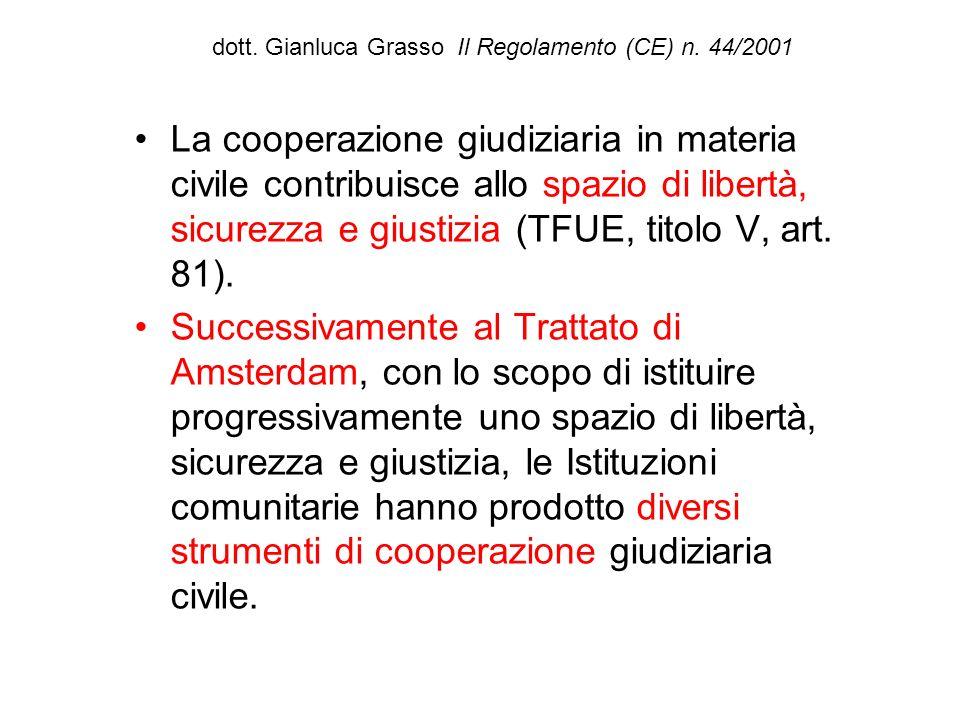 dott. Gianluca Grasso Il Regolamento (CE) n. 44/2001 La cooperazione giudiziaria in materia civile contribuisce allo spazio di libertà, sicurezza e gi