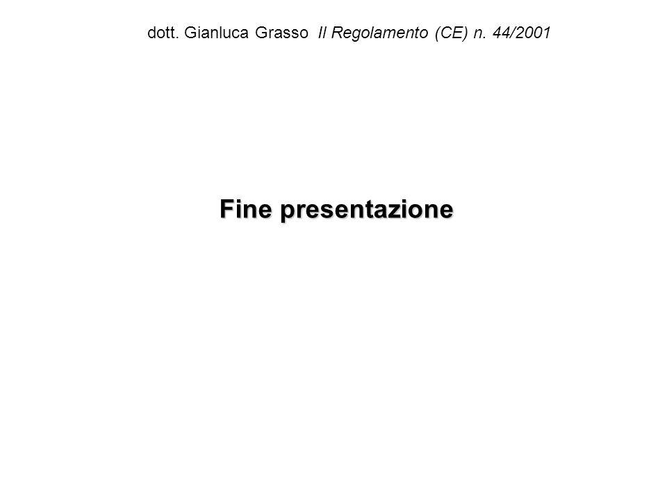 dott. Gianluca Grasso Il Regolamento (CE) n. 44/2001 Fine presentazione