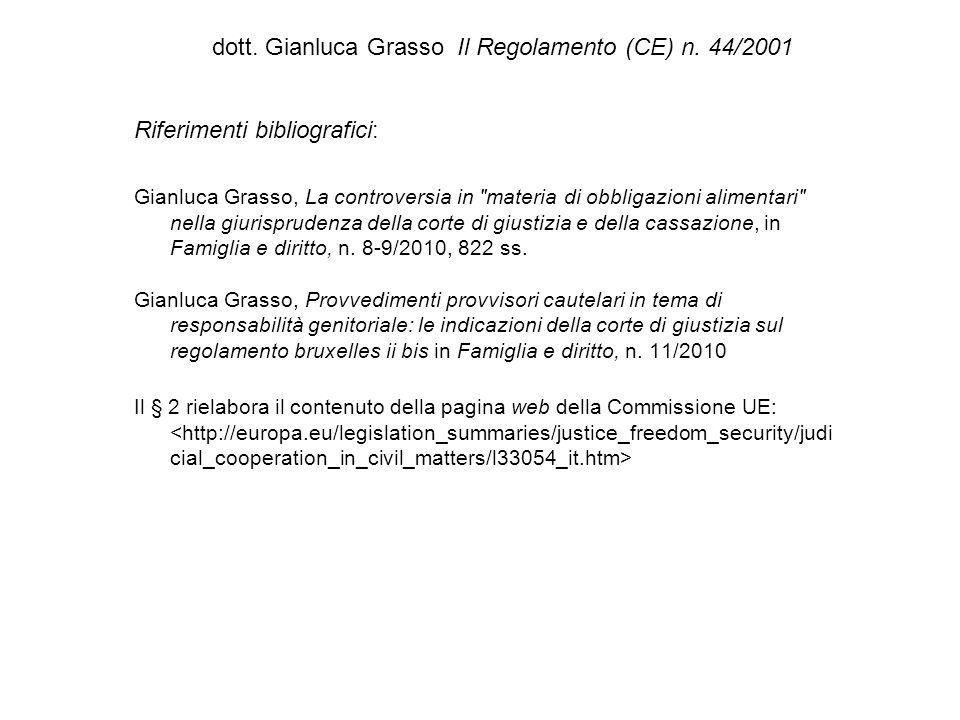 dott. Gianluca Grasso Il Regolamento (CE) n. 44/2001 Riferimenti bibliografici: Gianluca Grasso, La controversia in
