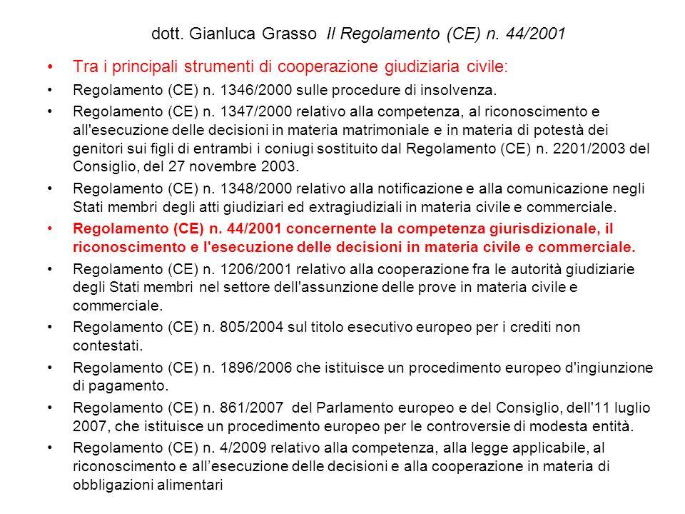 dott. Gianluca Grasso Il Regolamento (CE) n. 44/2001 Tra i principali strumenti di cooperazione giudiziaria civile: Regolamento (CE) n. 1346/2000 sull