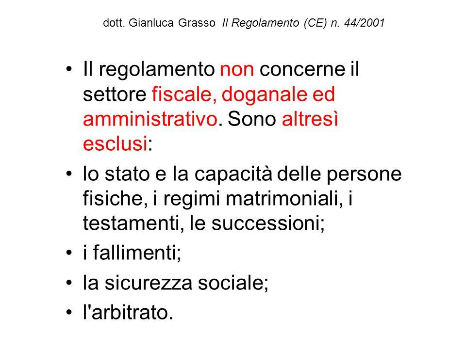 dott. Gianluca Grasso Il Regolamento (CE) n. 44/2001 Il regolamento non concerne il settore fiscale, doganale ed amministrativo. Sono altresì esclusi: