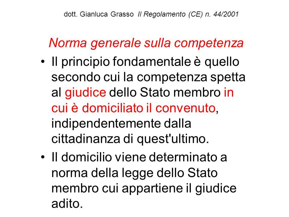 dott. Gianluca Grasso Il Regolamento (CE) n. 44/2001 Norma generale sulla competenza Il principio fondamentale è quello secondo cui la competenza spet