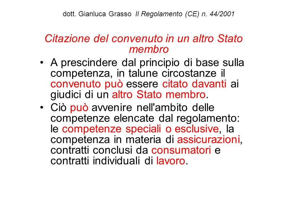 dott. Gianluca Grasso Il Regolamento (CE) n. 44/2001 Citazione del convenuto in un altro Stato membro A prescindere dal principio di base sulla compet