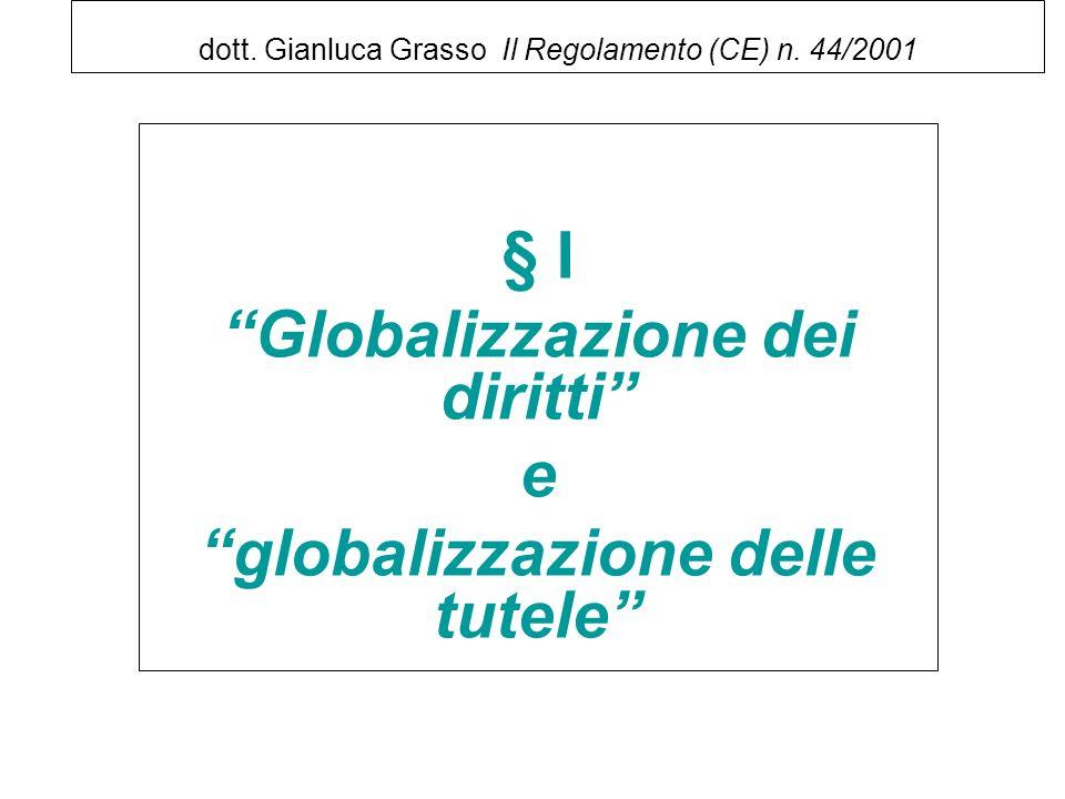 dott. Gianluca Grasso Il Regolamento (CE) n. 44/2001 § I Globalizzazione dei diritti e globalizzazione delle tutele