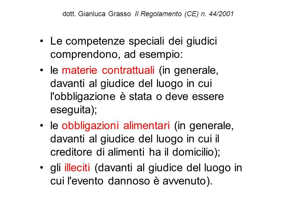 dott. Gianluca Grasso Il Regolamento (CE) n. 44/2001 Le competenze speciali dei giudici comprendono, ad esempio: le materie contrattuali (in generale,