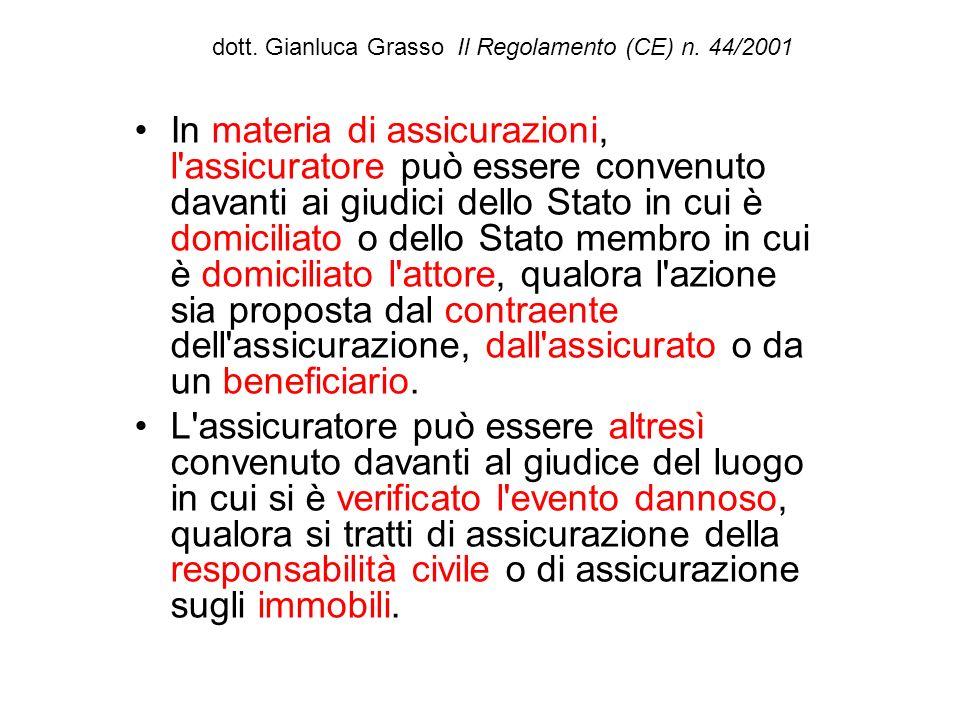 dott. Gianluca Grasso Il Regolamento (CE) n. 44/2001 In materia di assicurazioni, l'assicuratore può essere convenuto davanti ai giudici dello Stato i