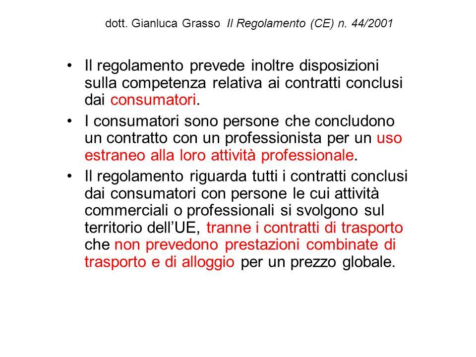 dott. Gianluca Grasso Il Regolamento (CE) n. 44/2001 Il regolamento prevede inoltre disposizioni sulla competenza relativa ai contratti conclusi dai c