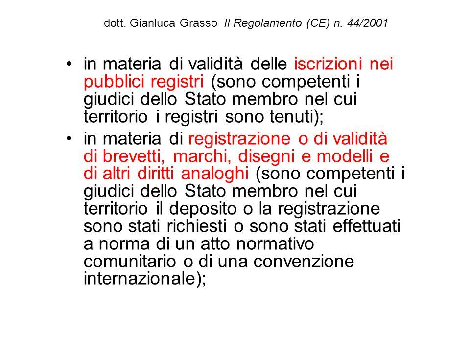 dott. Gianluca Grasso Il Regolamento (CE) n. 44/2001 in materia di validità delle iscrizioni nei pubblici registri (sono competenti i giudici dello St