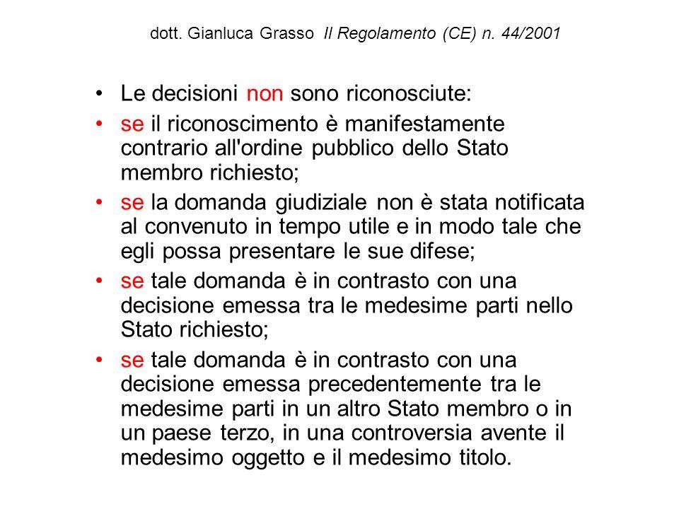dott. Gianluca Grasso Il Regolamento (CE) n. 44/2001 Le decisioni non sono riconosciute: se il riconoscimento è manifestamente contrario all'ordine pu