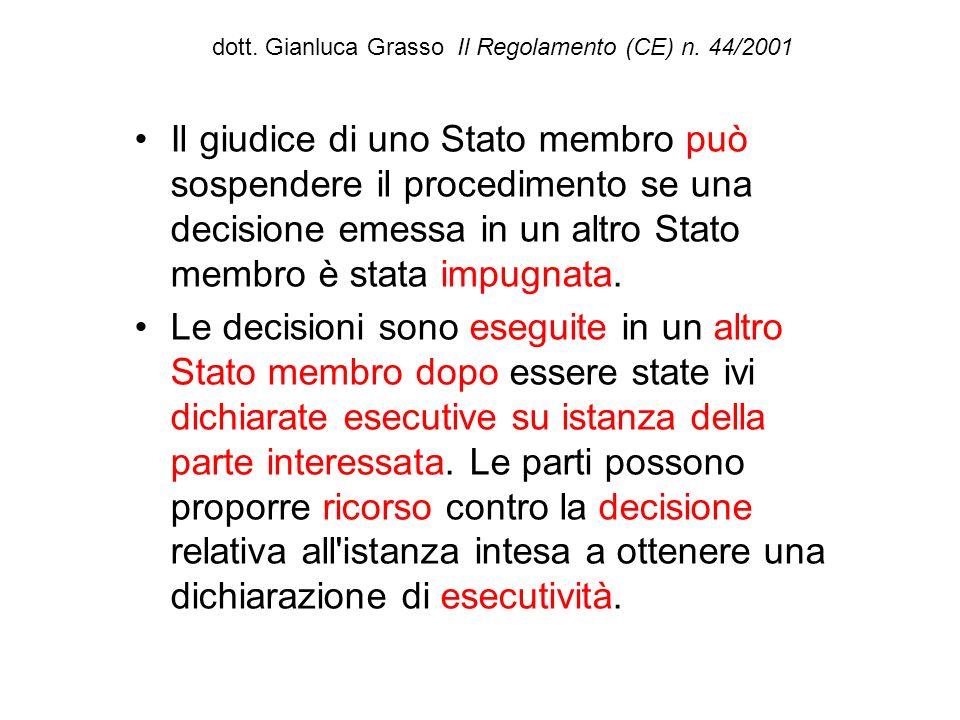 dott. Gianluca Grasso Il Regolamento (CE) n. 44/2001 Il giudice di uno Stato membro può sospendere il procedimento se una decisione emessa in un altro