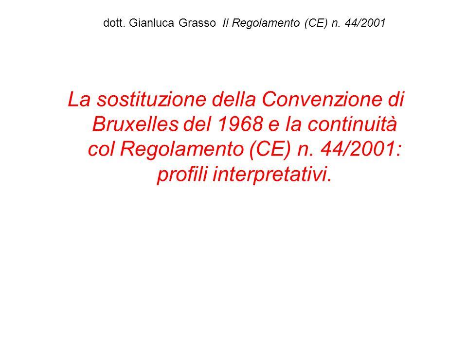 dott. Gianluca Grasso Il Regolamento (CE) n. 44/2001 La sostituzione della Convenzione di Bruxelles del 1968 e la continuità col Regolamento (CE) n. 4