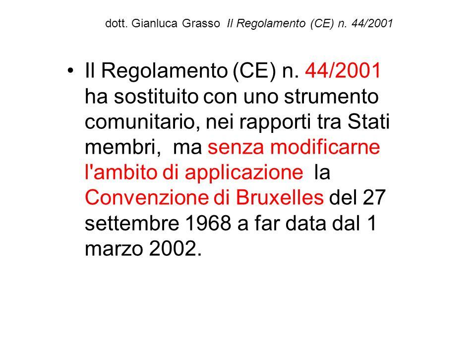 dott. Gianluca Grasso Il Regolamento (CE) n. 44/2001 Il Regolamento (CE) n. 44/2001 ha sostituito con uno strumento comunitario, nei rapporti tra Stat