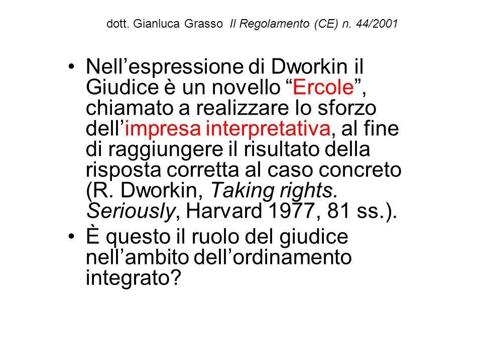 dott. Gianluca Grasso Il Regolamento (CE) n. 44/2001 Nellespressione di Dworkin il Giudice è un novello Ercole, chiamato a realizzare lo sforzo dellim
